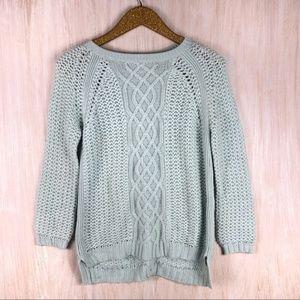 Zara Baby Blue Mix Chunky Knit Button Back Sweater
